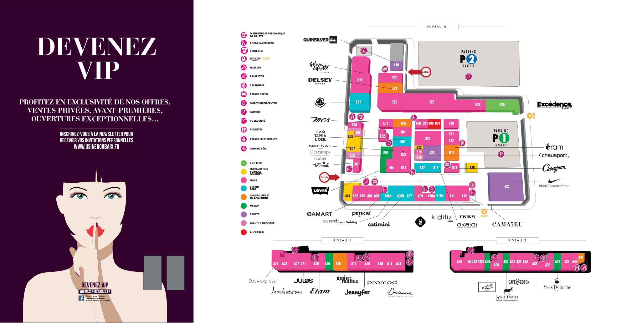 Plan du centre L'Usine Roubaix (juin 2018)