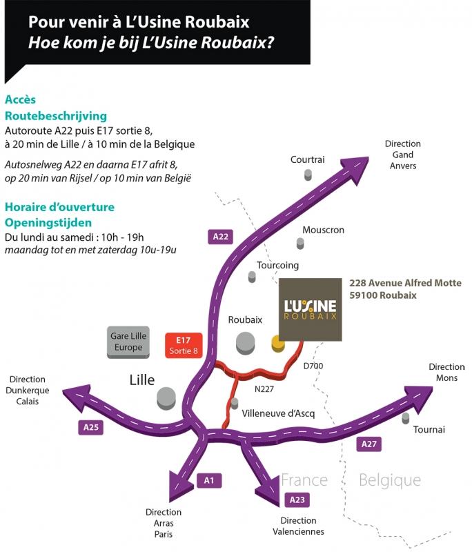 Plan d'accès L'Usine Roubaix